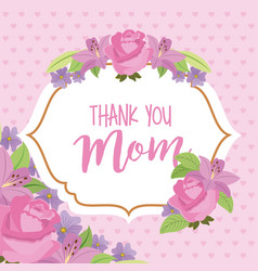 vintage label delicate flowers thank mom vector image