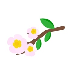 White apple flowers branch icon vector