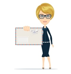 Woman holding envelope letter in her hand vector