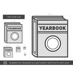 Year book line icon vector