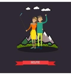 Young couple taking selfie vector