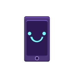 Smartphone Primitive Icon With Smiley Face vector image