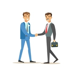 Bank manager meeting handshaking with important vector