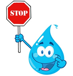 Water drop character holding a stop sign vector