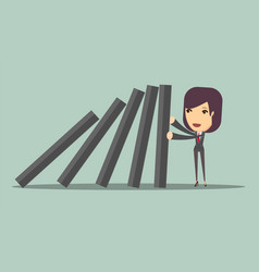 businesswoman stopping the domino effect vector image