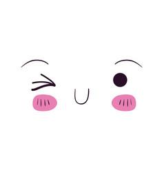colorful facial expression kawaii wink eye vector image