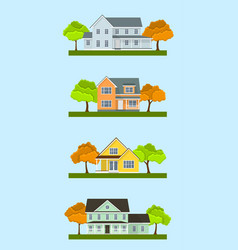Cottage houses set vector