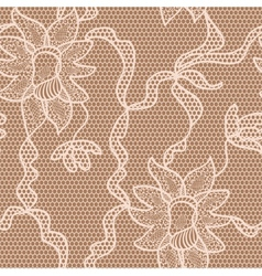 Beige lace fabric seamless pattern vector
