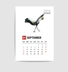 2016 september calendar flamingo polygon vector