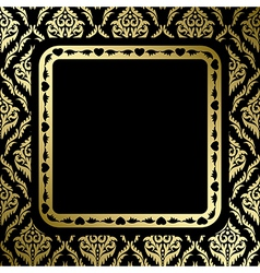 black background with gold ornament and frame vector image