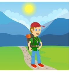 Young man tourist with a backpack standing on a vector
