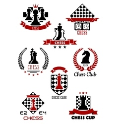 Chess sports game logos labels and symbols vector