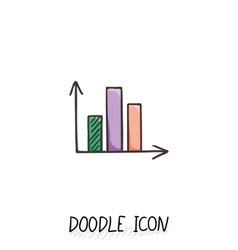 Doodle diagram icon chart with columns vector