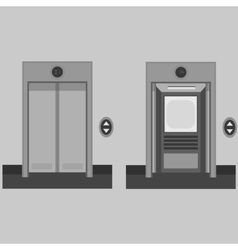 Metal office building elevator on grey background vector