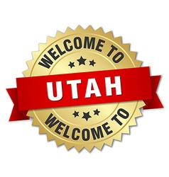 Utah 3d gold badge with red ribbon vector