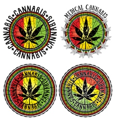 Cannabis leaf symbol jamaican flag background vector