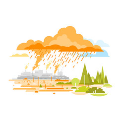Acid rain emissions from plants vector