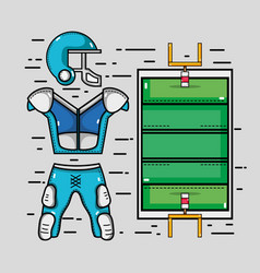 American football court with clothes element vector