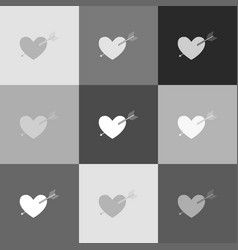 arrow heart sign grayscale version of vector image