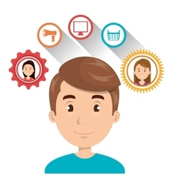 Avatar man and shopping icons vector
