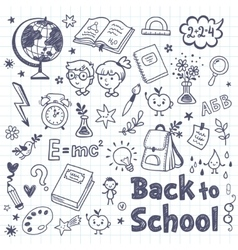 Back to school doodle set with cartoon subjects vector