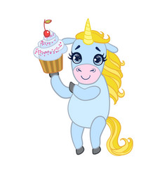 cartoon light blue lovely unicorn holding cupcake vector image vector image