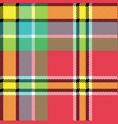 check fabric texture square pixel seamless pattern vector image