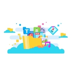 Cloud storage flat design vector image