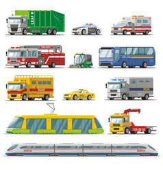 Colorful city transport set vector