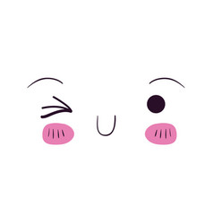 Colorful facial expression kawaii wink eye vector