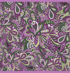 Doodle floral seamless pattern violet and green vector