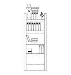 Dotted shape education bookcase with folders vector