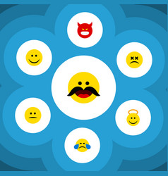 Flat icon emoji set of joy angel cheerful and vector