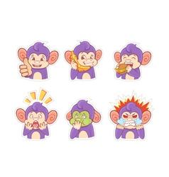 Funny cartoon monkey emotion stickers vector