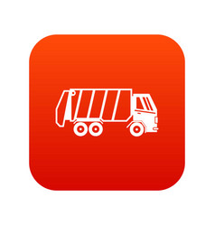 Garbage truck icon digital red vector
