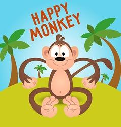 Happy funny cartoon monkey in vector