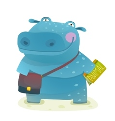 Hippopotamus kid student with book and bag going vector