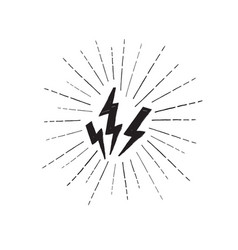 lightning bolt set grunge strike icon power sign vector image