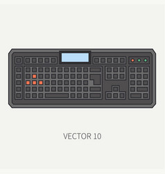 Line flat color computer part icon keyboard vector