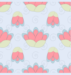 Lotus pattern in gentle colors vector