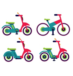 Motorcycle scooter bycicle set isolated vector