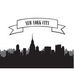 Nyc cityscape city skyline silhouette travel usa vector