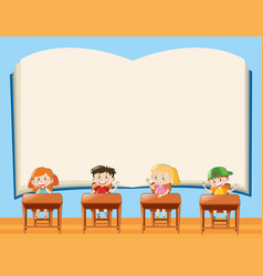 Paper template with kids in classroom vector