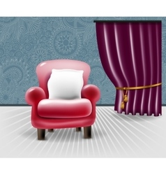 Red leather chair with a white pillow in floral vector