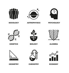 science icons set genetics and economy vector image vector image