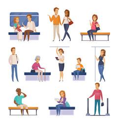 subway underground characters cartoon icons vector image