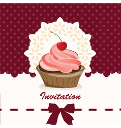 Sweet cupcake invitation background vector