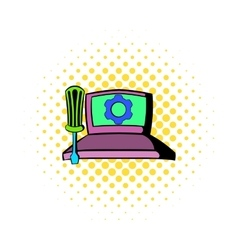 Technical support computer repair service icon vector