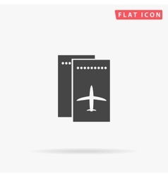 Ticket plane simple flat icon vector