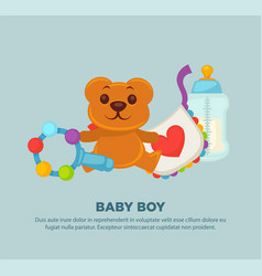 toys for newborn baby boy on promotional poster vector image vector image